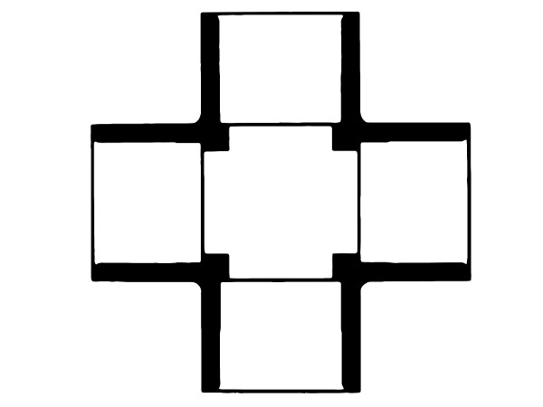 "420-007 PVC Schedule 40 3/4"" Cross Fitting"
