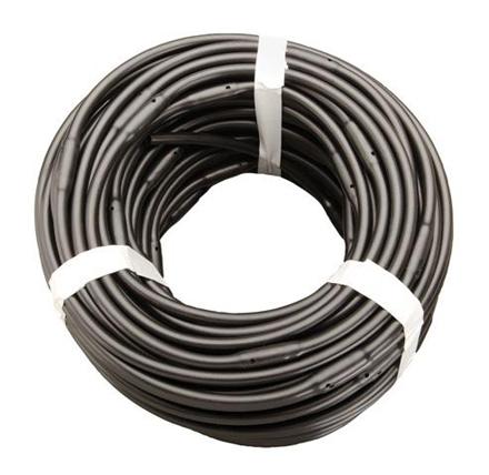 """DD-DET250-12-100 - 1/4"""" x 100' Soaker Hose 12"""" Spacing 1/2 GPH Dripline Emitters - Black Tubing."""